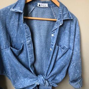 Tops - Oversized Vintage Style Blue Shirt